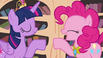 Twilight and Pinkie hoof-bump S4E01