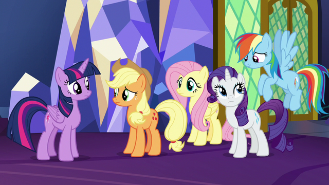 File:Twilight and friends amused by Pinkie's excitement S7E11.png