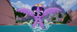 Twilight splashing in the river water MLPTM