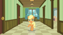 Young Applejack back in the hospital hallway S6E23