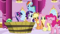 Applejack, Pinkie Pie, and Rarity -me too!- S5E13