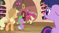 Applejack, Spike and Twilight looking at Apple Bloom S2E06