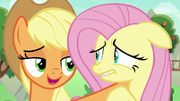 Applejack tells Fluttershy to stay S8E23