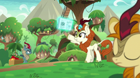 Autumn Blaze giving out newspapers S8E23
