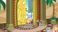 Bellhop opens the door for Applejack and Fluttershy S6E20