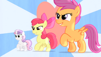 CMC walking with heart in the background S4E05