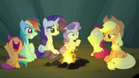 Cutie Mark Crusaders cheering for Rockhoof S7E16
