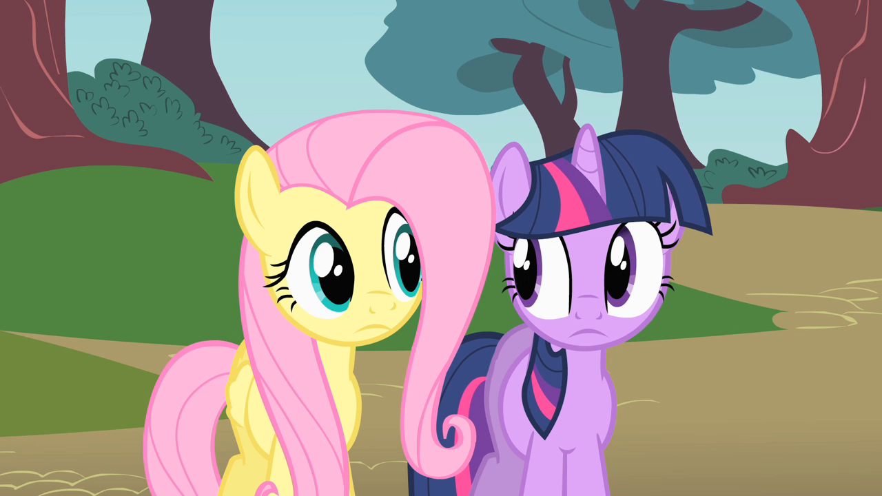Image  Fluttershy and Twilight thinking where to look for