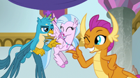 Gallus and Smolder shooting finger guns S9E7