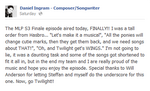 Magical Mystery Cure Daniel Ingram Facebook comment S3E13