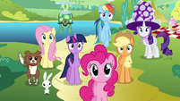 Mane 6 and pets waiting S4E18