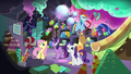 Mane 6 in Pinkie's basement S5E11.png