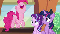 Pinkie Pie jumping with excitement S6E1