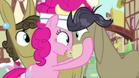 Pinkie Pie presses her face to Cranky's face MLPS5