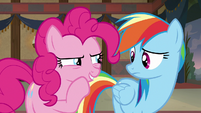 Pinkie Pie whispers to Rainbow -I got this- S7E18