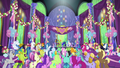 Ponies and changelings cheer for the heroes S7E1.png
