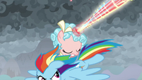 Rainbow Dash swoops past Cozy Glow S9E25