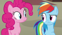 Rainbow and Pinkie briefly look at each other S7E18