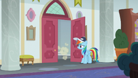 Rarity zooms away into her classroom S9E15