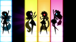 Silhouettes of Dash, Fluttershy, AJ, and Pinkie EG2