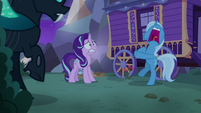 Starlight and Thorax look at screaming Trixie S6E25