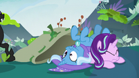Starlight and Trixie dumped out of the bag S7E17