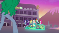 Sunset Shimmer covered in a green glow EGFF