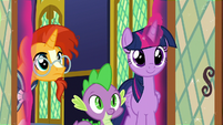 Twilight, Spike, and Sunburst enter the throne room S8E8