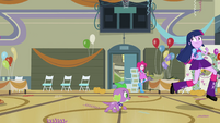 Twilight and Spike race out of the gym EG