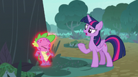 Twilight curious about what Spike is doing S8E11