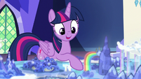 Twilight points to base of rainbow waterfall S8E1
