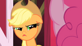 Applejack looking at Pinkie suspiciously S1E25.png