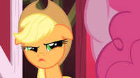 Applejack looking at Pinkie suspiciously S1E25