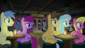 Audience members look over at Pinkie Pie S8E3.png