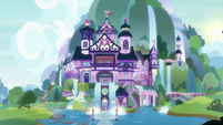 Exterior view of School of Friendship at midday S8E15