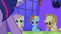 Fluttershy, Rainbow Dash and Applejack looking at Twilight S2E25.png