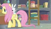 Fluttershy and Angel leave supply room S9E18
