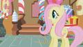 Fluttershy sees Gilda come into Sugarcube Corner S1E05.png