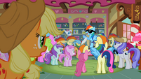 Many ponies are admiring Rainbow Dash S2E08