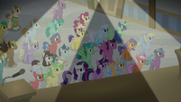 Ponies listening to the announcement S8E16