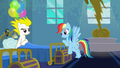 Rainbow Dash leaning on Surprise's bed S6E7.png