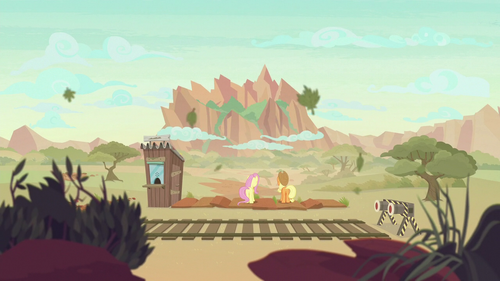 AJ and Fluttershy look at Peaks of Peril S8E23