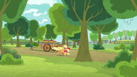 Applejack and Apple Bloom running off S9E10