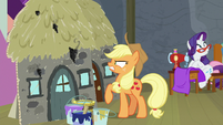 Applejack watches cinders burn her stage set S8E7