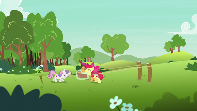 File:Cutie Mark Crusaders stretch a large rubber band S7E7.png