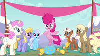 Filly Pinkie Pie pointing at herself S4E12