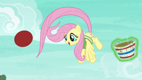 Fluttershy deflects the ball with her tail S6E18