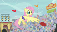 Fluttershy flings the ball back to Pinkie S9E6