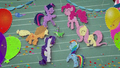 Mane Six dancing around Gummy BFHHS4.png