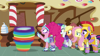 Pinkie Pie about to stop Rainbow Dash S5E21